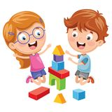 Vector Illustration Of Kid Playing With Building Blocks. Eps 10 vector illustration