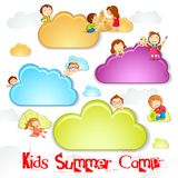 Summer Camp for Kids. Vector illustration of kid playing on cloud for summer camp royalty free illustration