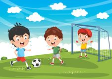 Vector Illustration Of Kid Playing Football. Eps 10 royalty free illustration