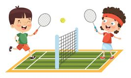 Vector Illustration Of Kid Playing Tennis. Eps 10 Royalty Free Stock Photo
