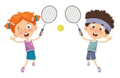 Vector Illustration Of Kid Playing Tennis. Eps 10 Royalty Free Stock Image