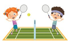 Vector Illustration Of Kid Playing Tennis. Eps 10 vector illustration
