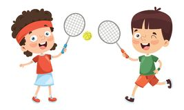 Vector Illustration Of Kid Playing Tennis. Eps 10 Royalty Free Stock Images