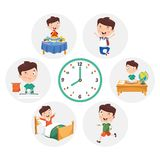 Vector Illustration Of Kid Daily Routine Activities. Eps 10 royalty free illustration