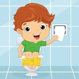 Vector Illustration Of A Kid at Toilet. Eps 10 Royalty Free Stock Photos