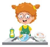 Vector Illustration Of Kid Washing Dishes. Eps 10 Stock Photo