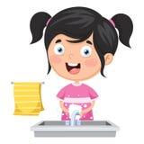 Vector Illustration Of Kid Washing Hands. Eps 10 Royalty Free Stock Photo
