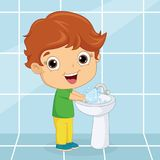 Vector Illustration Of Kid Washing Hands stock illustration
