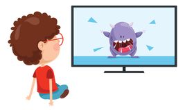 Vector Illustration Of Kid Watching Tv. Eps 10 royalty free illustration