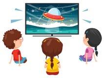 Vector Illustration Of Kid Watching Tv. Eps 10 stock illustration