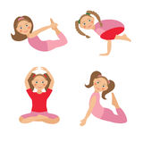Vector illustration of kid yoga positions. Children activities Stock Image