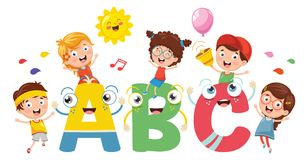 Vector Illustration Of Kids And Alphabet Characters. Eps 10 Stock Photo