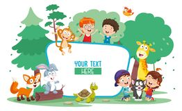 Vector Illustration Of Kids And Animals. Eps 10 vector illustration