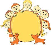 Vector illustration of kids with banner Royalty Free Stock Photography