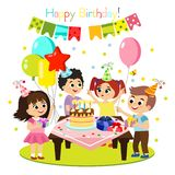 Vector illustration of kids birthday party, colorful and bright decoration, happy children have fun together, girls and. Boys in flat cartoon style stock illustration