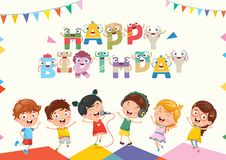 Vector Illustration Of Kids Birthday Party. Vector Illustration Of Kids Zone Background Design eps 10 Royalty Free Stock Photography