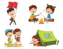 Vector Illustration Of Kids Camping. Eps 10 Stock Photography