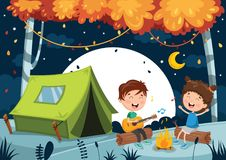Vector Illustration Of Kids Camping. Eps 10 Stock Photo
