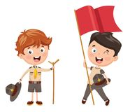 Vector Illustration Of Kids Camping. Eps 10 Stock Images