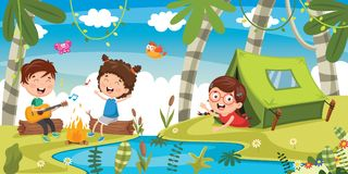 Vector Illustration Of Kids Camping. Eps 10 Royalty Free Stock Image