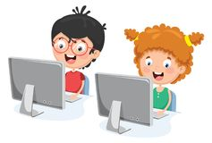Vector Illustration Of Kids With Computer. Eps 10 Stock Images