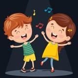 Vector Illustration Of Kids Dancing Stock Image