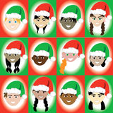 Christmas Hat Kid Faces Royalty Free Stock Images