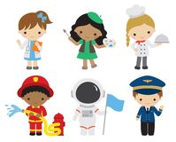 Kids with Different Careers vector illustration