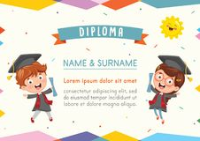 Vector Illustration Of Kids Diploma. Eps 10 Royalty Free Stock Photography