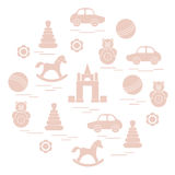 Vector illustration kids elements arranged in a circle: car, pyr Royalty Free Stock Photos