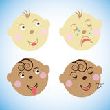 Vector illustration Kids faces. childrens emotions. set icons, symbols. Stock Images