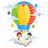 Vector Illustration Of Kids Flying Hot Air Balloon. Eps 10 Royalty Free Stock Photos