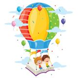 Vector Illustration Of Kids Flying Hot Air Balloon. Eps 10 Royalty Free Stock Photography