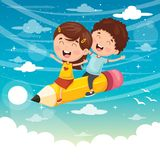Vector Illustration Of Kids Flying With Pencil. Eps 10 Royalty Free Stock Photo