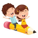 Vector Illustration Of Kids Flying With Pencil. Eps 10 vector illustration