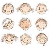 Vector illustration of kids friends, doodle set Stock Photo