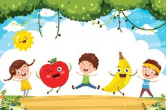 Vector Illustration of Kids and Fruit Characters Royalty Free Stock Images
