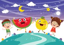 Vector Illustration of Kids and Fruit Characters Royalty Free Stock Image