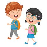 Vector Illustration Of Kids Going To School. Eps 10 Royalty Free Stock Image
