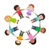 Group of kids holding hands in a circle vector illustration