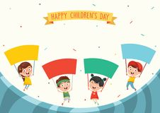 Vector Illustration Of Kids Holding Placard. Eps 10 Stock Photos