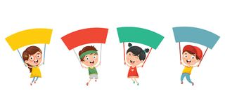 Vector Illustration Of Kids Holding Placard. Eps 10 Stock Image