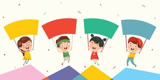 Vector Illustration Of Kids Holding Placard. Eps 10 Royalty Free Stock Image