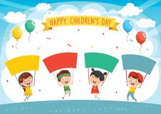 Vector Illustration Of Kids Holding Placard. Eps 10 vector illustration