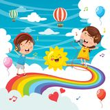 Vector Illustration Of Kids Jumping On Rainbow. Eps 10 royalty free illustration