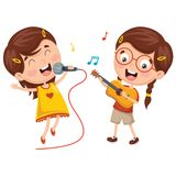 Vector Illustration Of Kids Making Art Performance Royalty Free Stock Photos