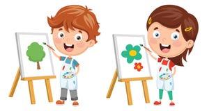 Vector Illustration Of Kids Making Art Performance. Eps 10 Stock Photo