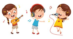 Vector Illustration Of Kids Making Art Performance. Eps 10 Stock Photos
