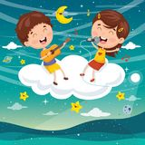 Vector Illustration Of Kids Making Music On Cloud Stock Photos