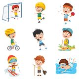 Vector Illustration Of Kids Making Sport. Eps 10 Royalty Free Stock Images